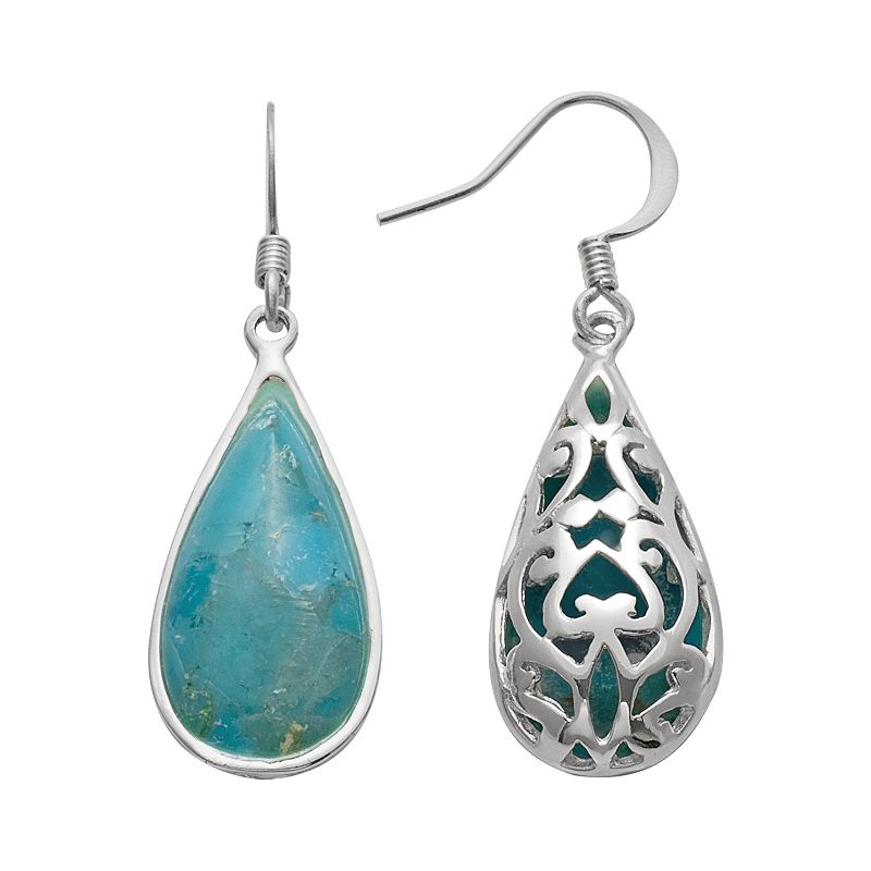 Silver Plated Turquoise Filigree Teardrop Earrings
