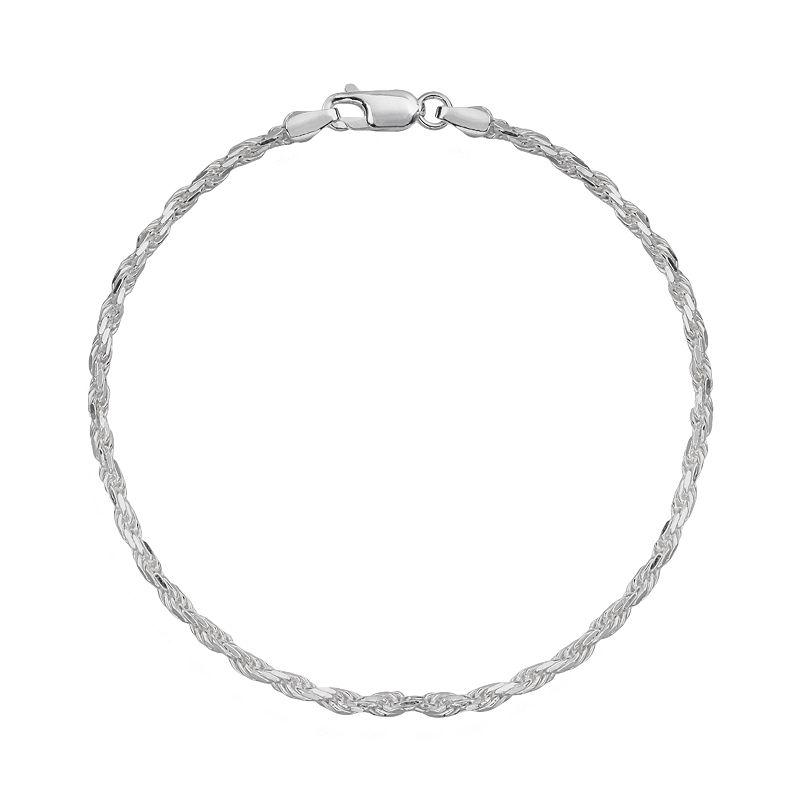 Splendid Silver Silver-Bonded Rope Chain Bracelet - 7-in.