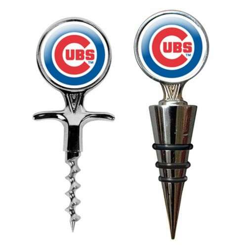 Chicago Cubs Cork Screw and Wine Bottle Topper Set