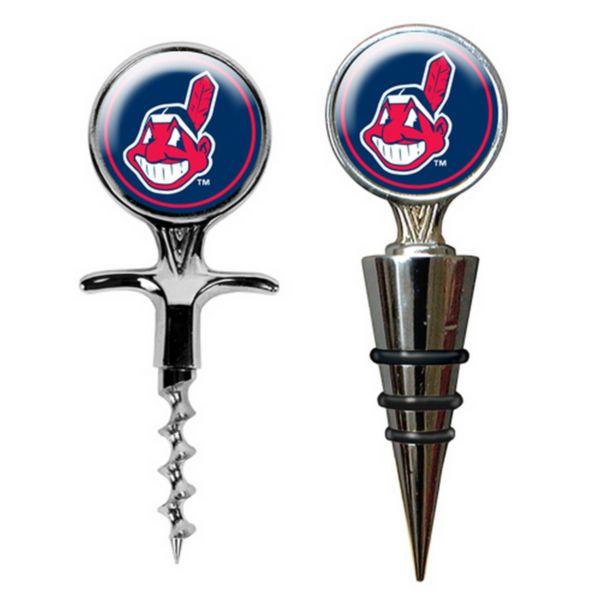 Cleveland Indians Cork Screw and Wine Bottle Topper Set