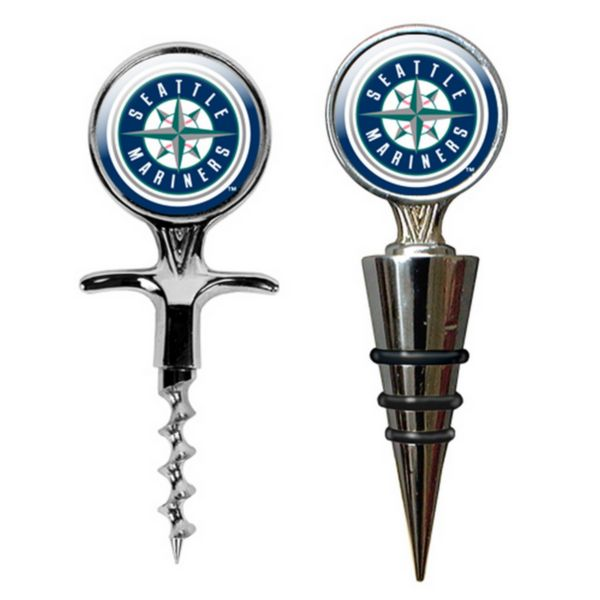 Seattle Mariners Cork Screw and Wine Bottle Topper Set