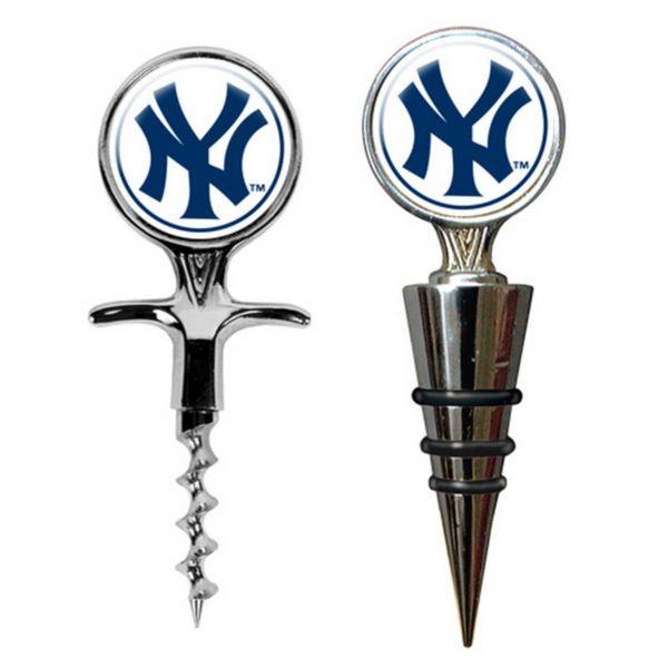 New York Yankees Cork Screw and Wine Bottle Topper Set