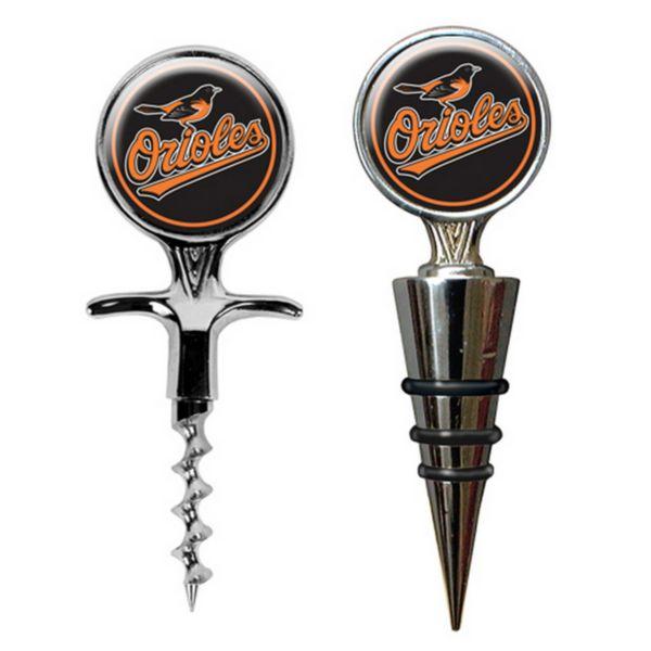 Baltimore Orioles Cork Screw and Wine Bottle Topper Set