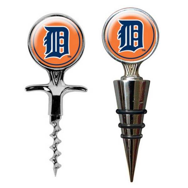 Detroit Tigers Cork Screw and Wine Bottle Topper Set