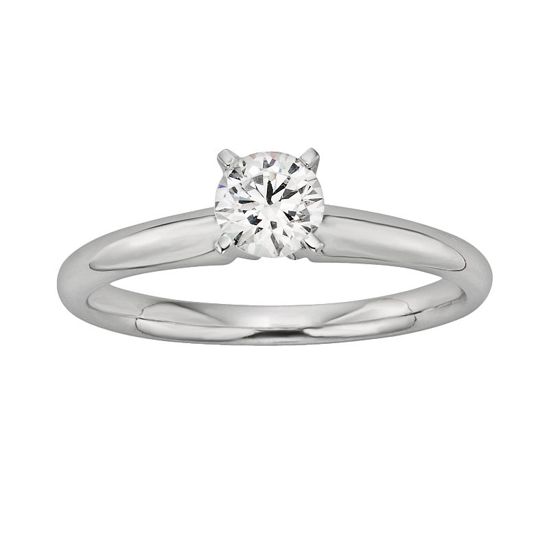 Round-Cut IGL Certified Colorless Diamond Solitaire Engagement Ring in 18k White Gold (1/2 ct T.W.)