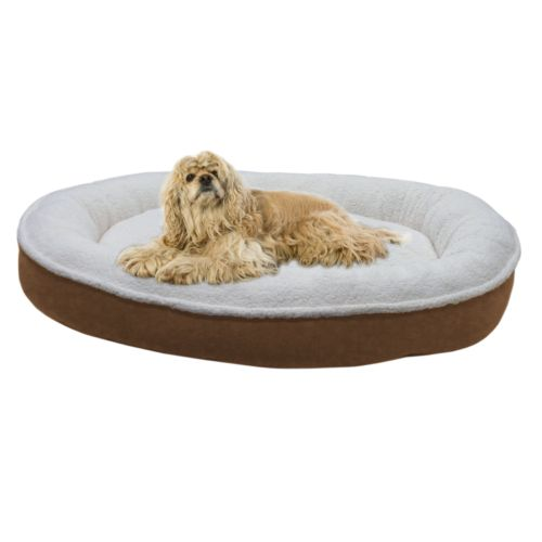 Carolina Pet Co. Cloud Sherpa and Faux Suede Comfy Cup Oval Pet Bed - 42'' x 36''