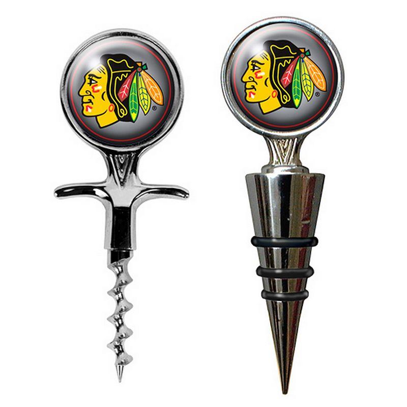 Chicago Blackhawks Cork Screw and Wine Bottle Topper Set