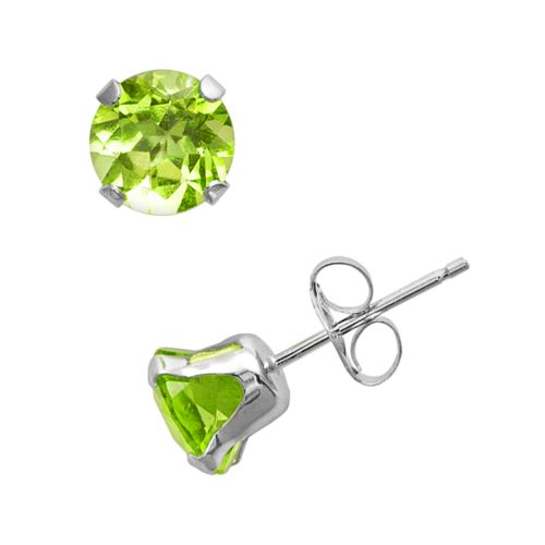 10k White Gold Peridot Stud Earrings