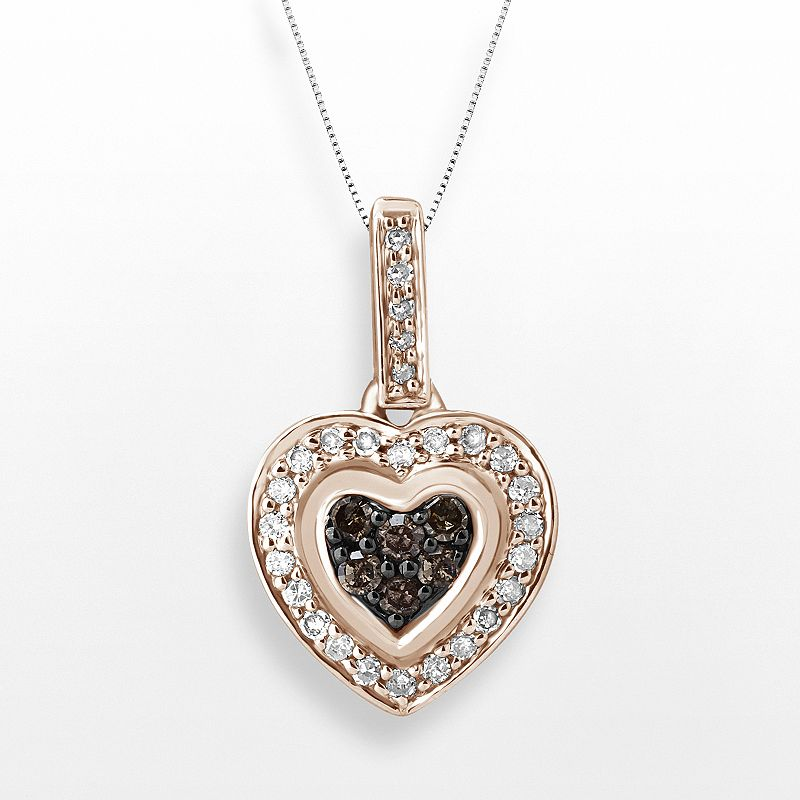 Rose Gold Tone Over Sterling Silver 1/4-ct. T.W. Diamond Heart Pendant