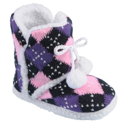 Journee Collection Mimi Argyle Slipper Boots - Girls
