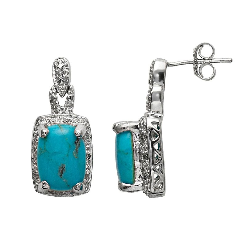 Sterling Silver .10-ct. T.W. Diamond Turquoise and Diamond Accent Drop Earrings