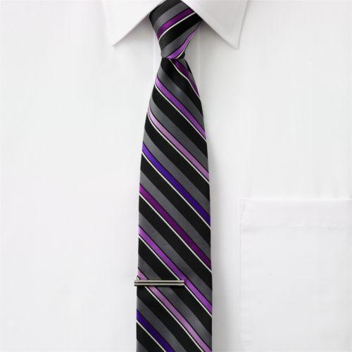 Apt. 9® Striped Skinny Tie with Tie Bar