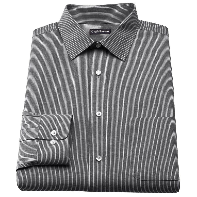 Men's Croft & Barrow® Classic-Fit Striped Broadcloth Spread-Collar Dress Shirt