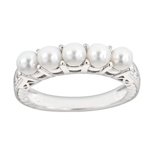 Sterling Silver Freshwater Cultured Pearl Five-Stone Ring