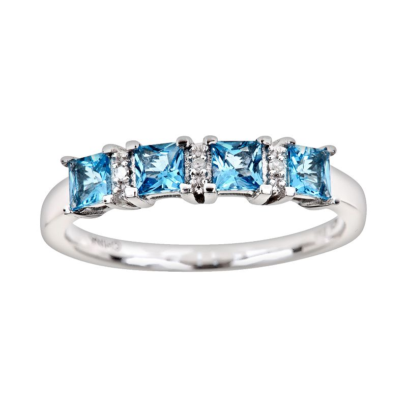 Sterling Silver Blue Topaz and Diamond Accent Ring