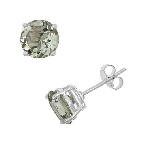 Sterling Silver Green Quartz Stud Earrings