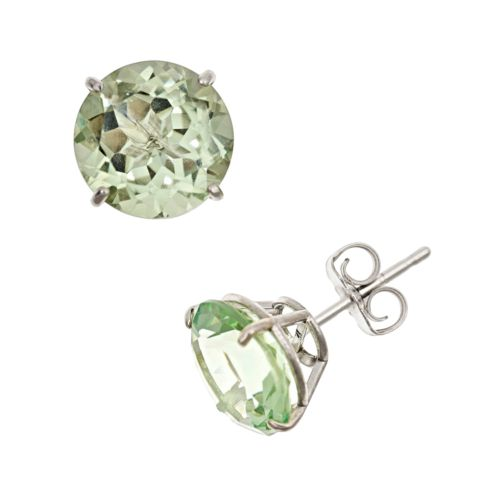 Sterling Silver Green Quartz Stud Earrings
