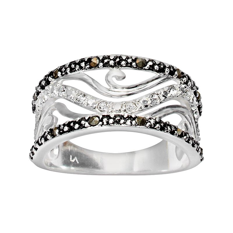 Silver Plate Crystal Openwork Swirl Filigree Ring