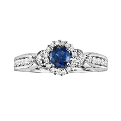 Cherish Always Diamond and Sapphire Engagement Ring in 10k White Gold (7/8 ct. T.W.)