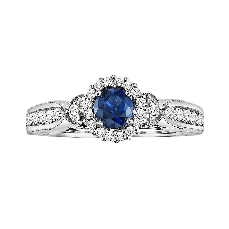 Cherish Always Diamond and Sapphire Engagement Ring in 10k White Gold (7/8 ct. T.W.)