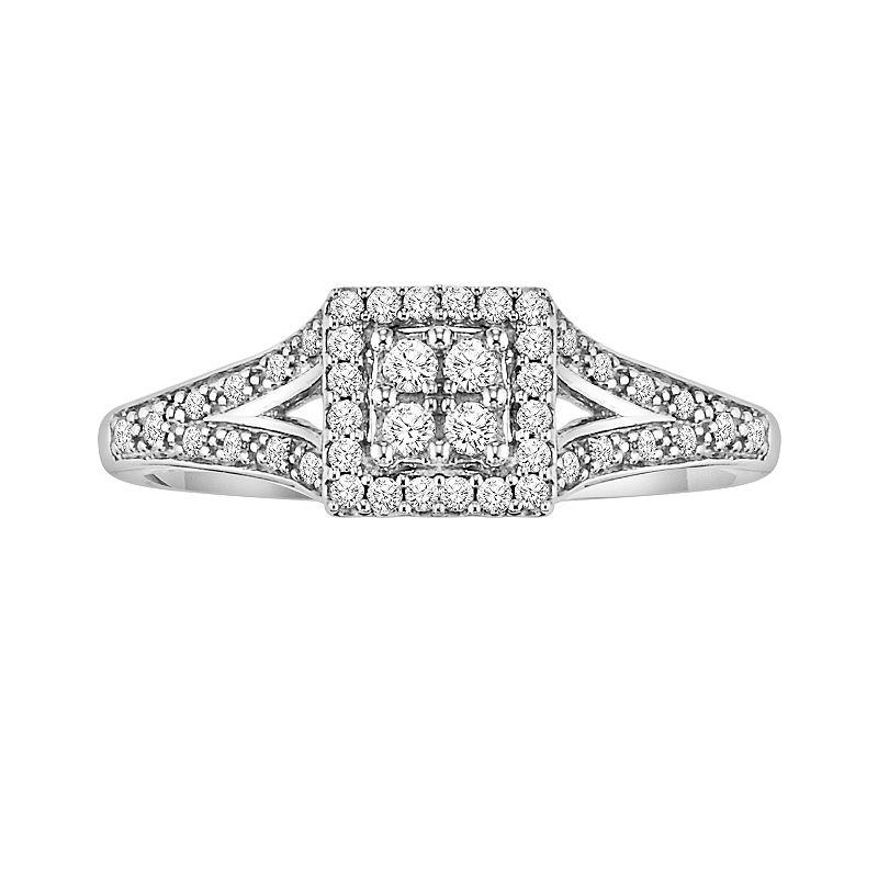Cherish Always Round-Cut Diamond Frame Engagement Ring in 10k White Gold (1/5 ct. T.W.)