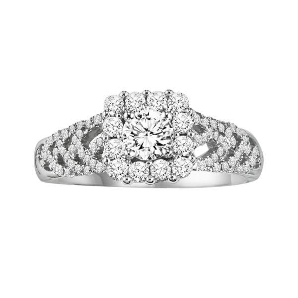Cherish Always Round-Cut Diamond Frame Engagement Ring in 10k White Gold (3/4 ct. T.W.)