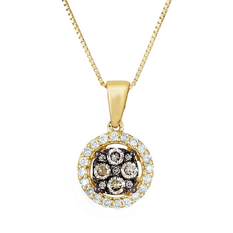 Espresso Natural Color Diamonds 10k Gold 1/3-ct. T.W. Brown and White Diamond Pendant