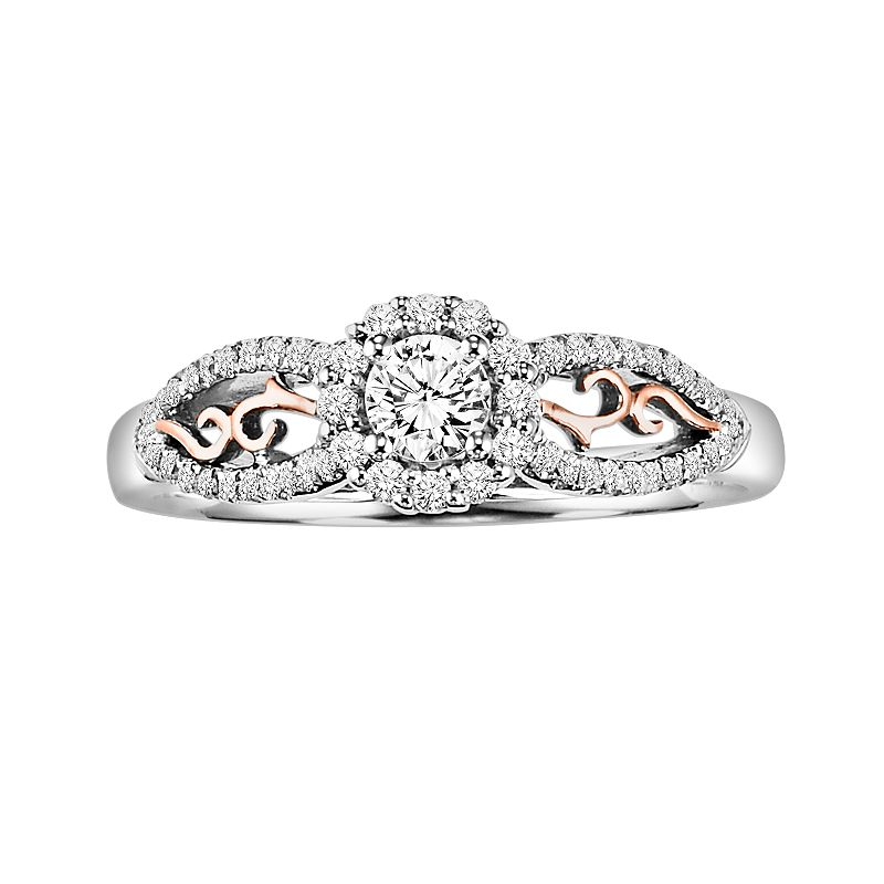 Cherish Always Round-Cut Diamond Frame Engagement Ring in 10k Gold Two Tone (3/8 ct. T.W.)