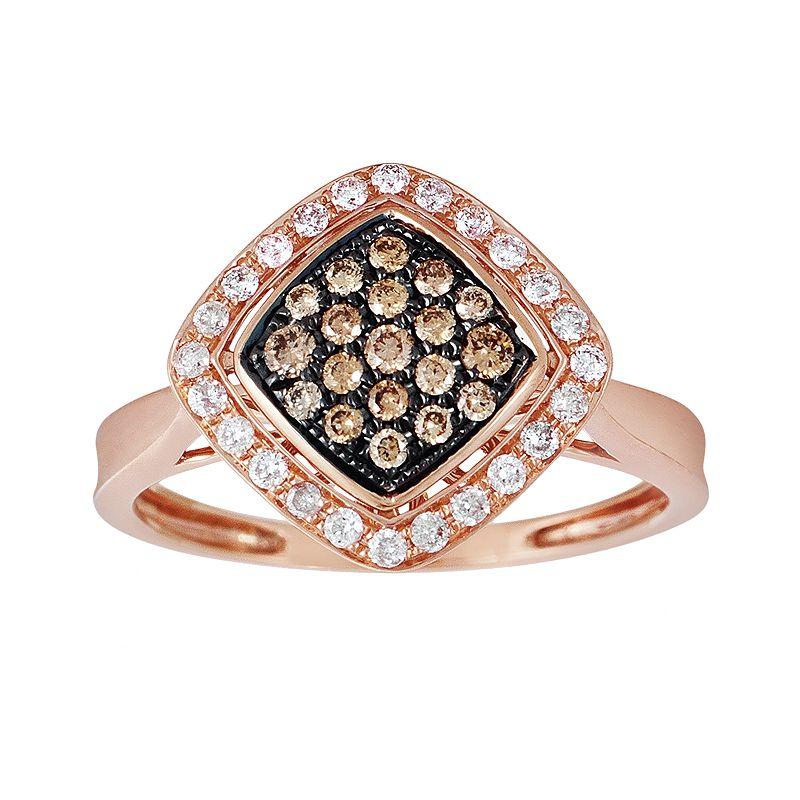 Espresso Natural Color Diamonds 10k Rose Gold 3/8-ct. T.W. Brown and White Diamond Ring