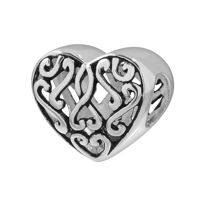 Individuality Beads Sterling Silver Filigree Heart Bead