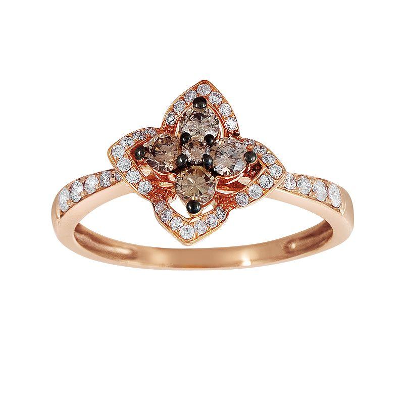 espresso natural color diamonds 10k rose gold 1 2 ct t w. Black Bedroom Furniture Sets. Home Design Ideas