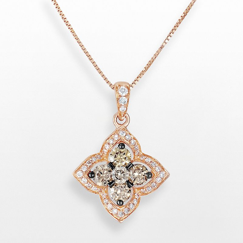 Espresso Natural Color Diamonds 10k Rose Gold 1/2-ct. T.W. Brown and White Diamond Lotus Flower Pendant