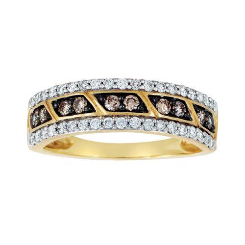 Espresso Natural Color Diamonds 10k Gold 1/2-ct. T.W. Brown and White Diamond Ring