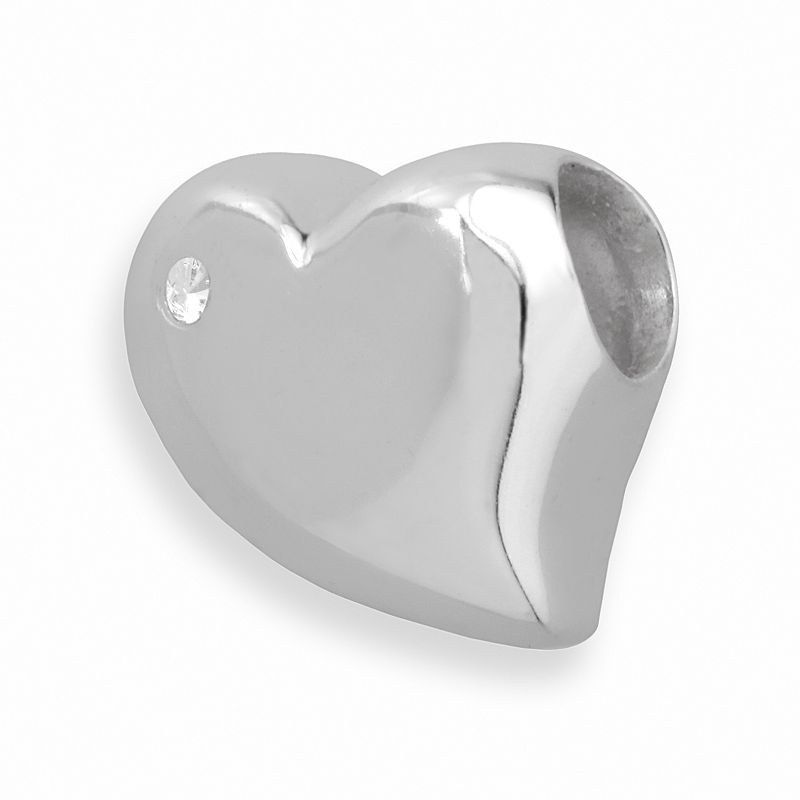Individuality Beads Sterling Silver Diamond Accent Heart Bead