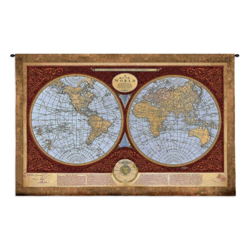 Fine Art Tapestries Map Of The World Tapestry Wall Decor