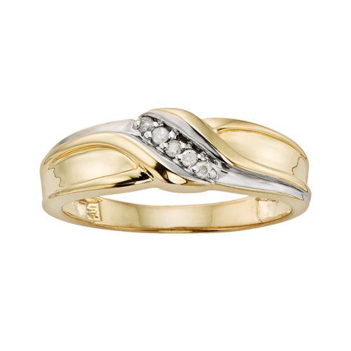 YellOra 1/10-ct. T.W. Diamond Twist Ring - Men