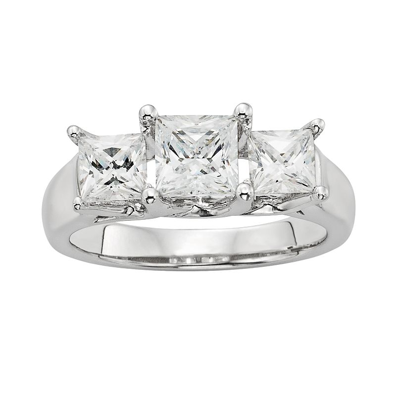 Diamonore Princess-Cut Simulated Diamond 3-Stone Engagement Ring in Sterling Silver (1 ct. T.W.)