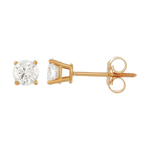 14k Gold 1/2-ct. T.W. Round-Cut Diamond Solitaire Earrings