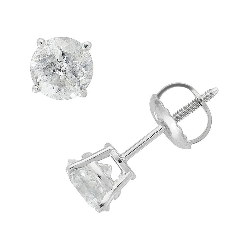 14k White Gold 1-ct. T.W. Round-Cut Diamond Solitaire Earrings