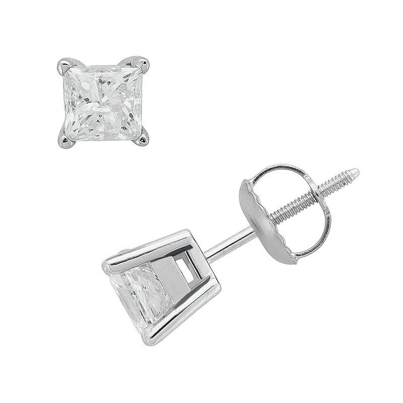 14k White Gold 1-ct. T.W. Princess-Cut Diamond Solitaire Earrings