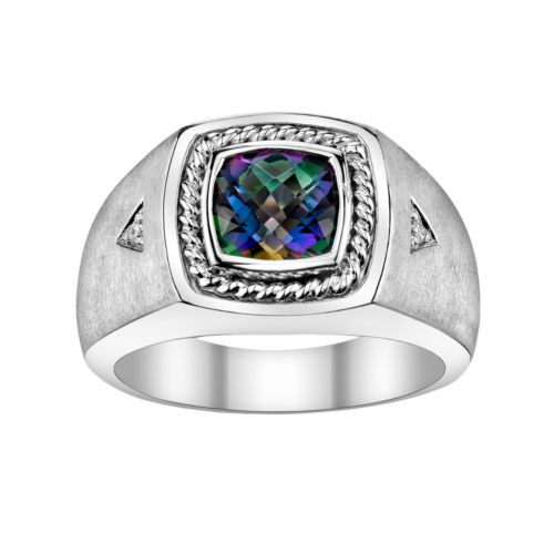 Sterling Silver Lab-Created Mystic Fire Topaz and Diamond Accent Ring - Men