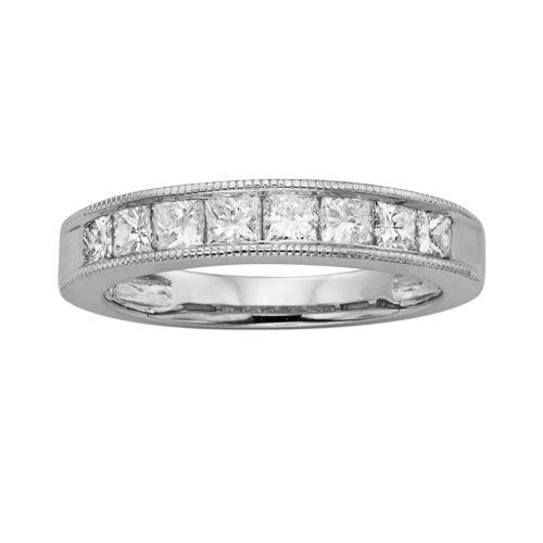 14k White Gold 1-ct. T.W. IGL Certified Princess-Cut Diamond Wedding Ring