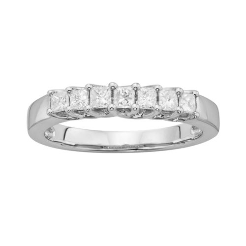 14k White Gold 1/2-ct. T.W. IGL Certified Princess-Cut Diamond Wedding Ring