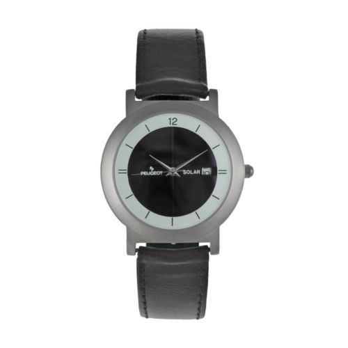 Peugeot Silver Tone Solar Leather Watch - 590 - Men
