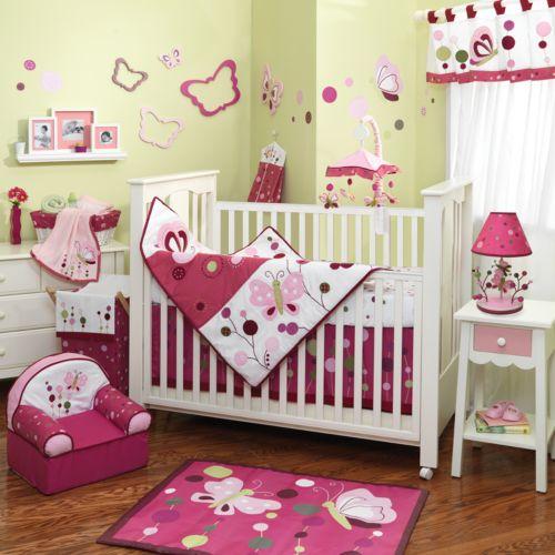 Lambs and Ivy Raspberry Swirl 5-pc. Crib Set
