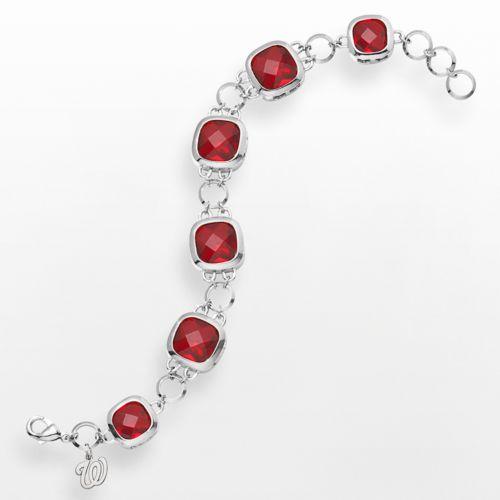 LogoArt Washington Nationals Legend Silver Tone Red Glass Logo Charm Bracelet