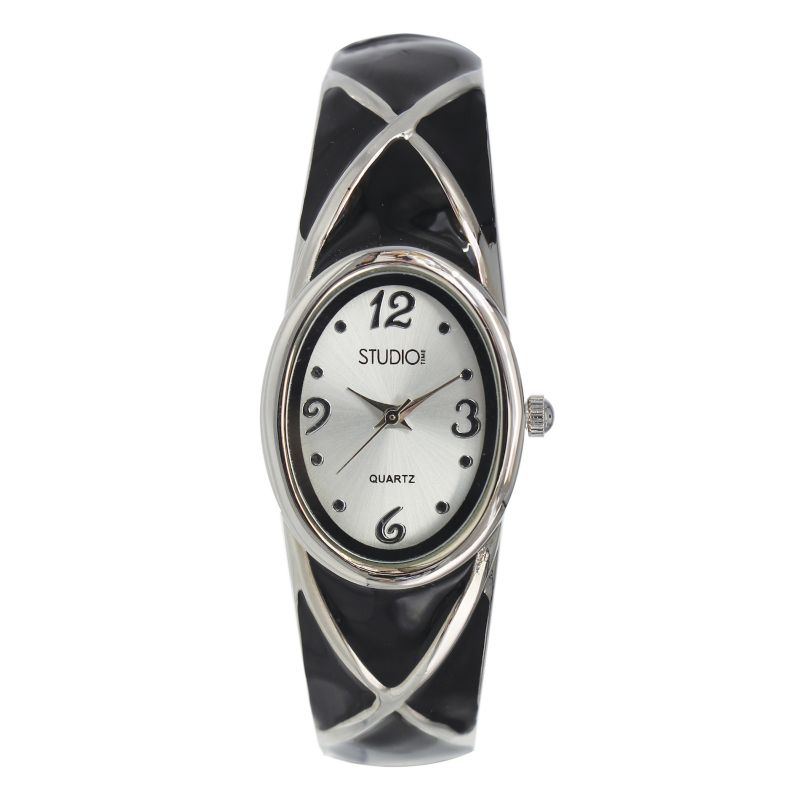 Studio Time Women's Crisscross Bangle Watch, Black thumbnail