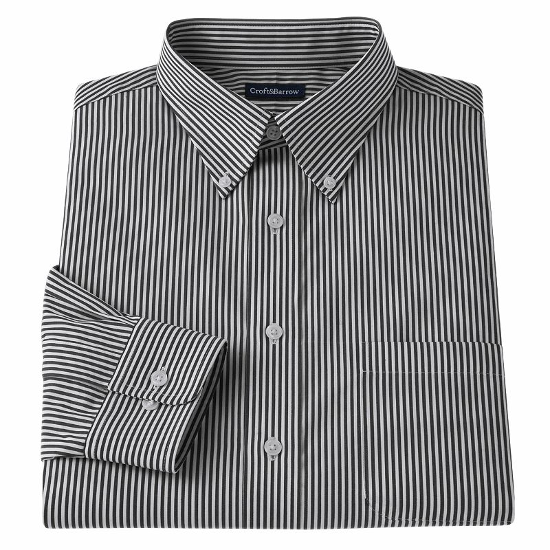 Men's Croft & Barrow® Fitted Patterned Easy-Care Button-Down-Collar Dress Shirt
