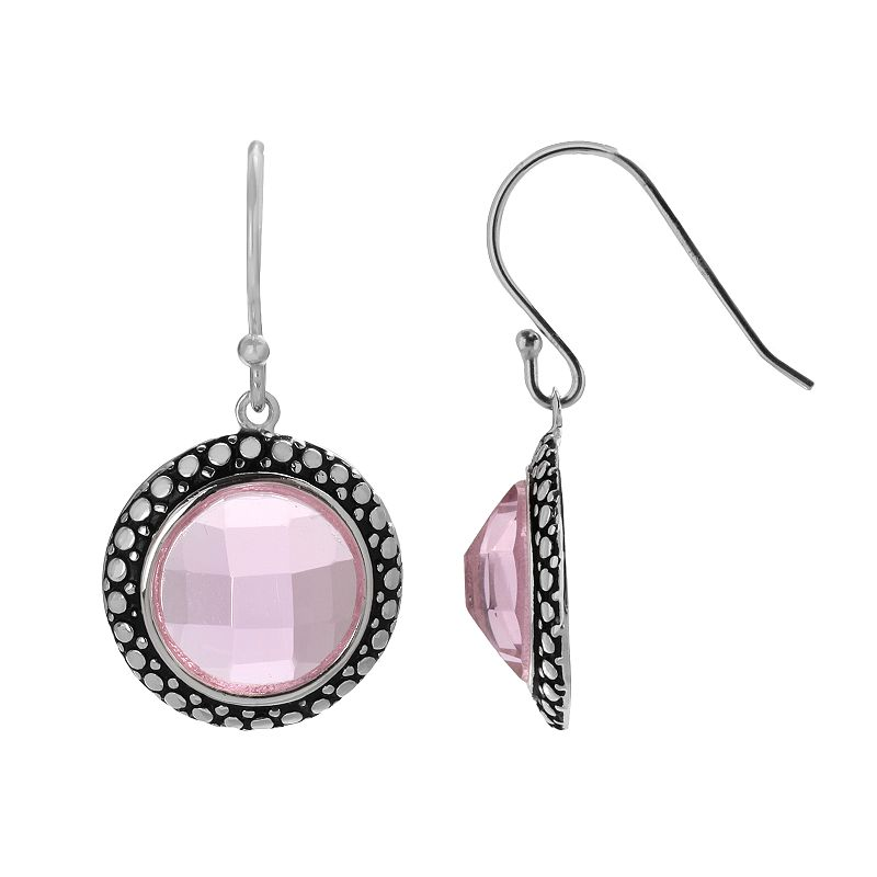 Silver Plated Simulated Crystal Drop Earrings