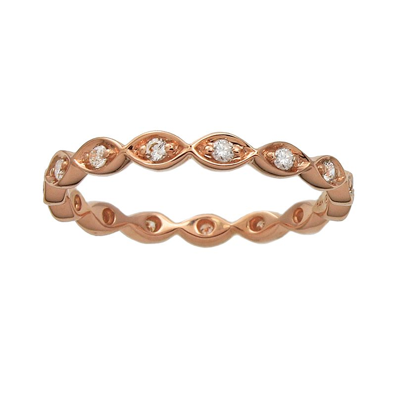 10k Rose Gold 1/5-ct. T.W. Diamond Scalloped Eternity Wedding Ring